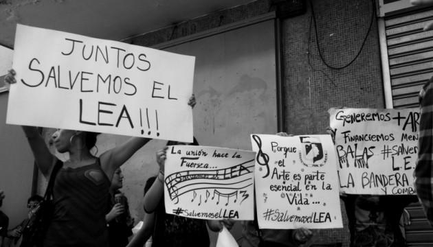 Protesta del Liceo Experimental Artístico en marzo de este año