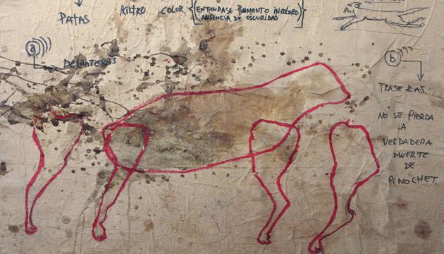Mapa conceptual del perro, pintura orgánica, 1995