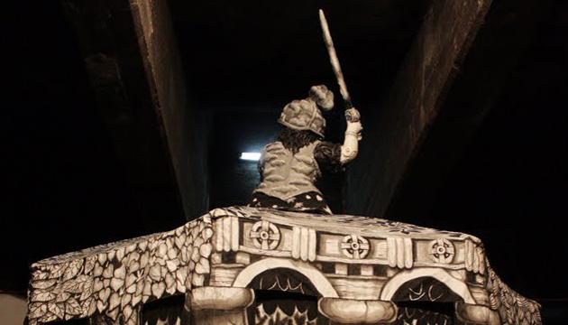 Detalle de San Jorge en la exhibición de 2011