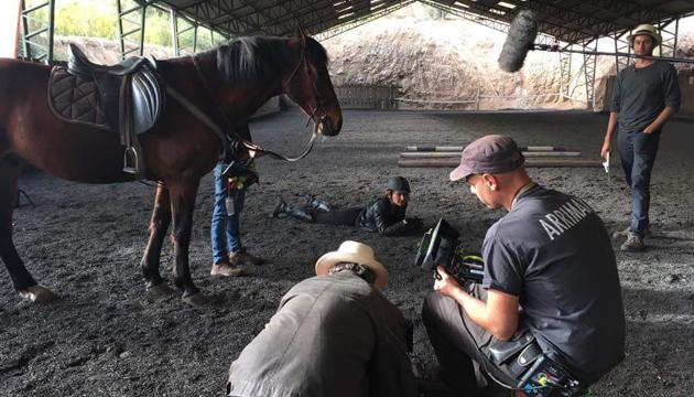 El equipo de Said rodando escenas de equitación