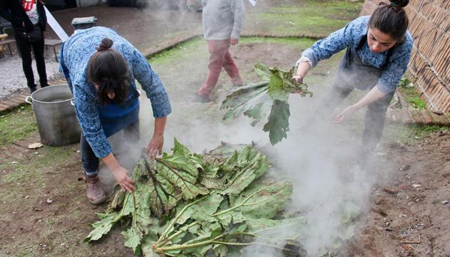 La cocción se cubre con hojas de nalcas traídas desde Chiloé
