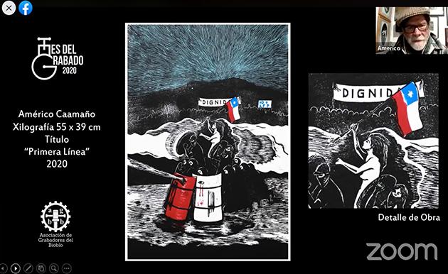 Américo Caamaño presenta una obra alusiva al estallido social